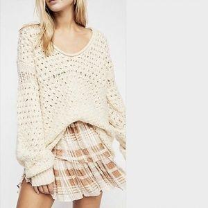 Free People Crashing Waves Wool Crochet Sweater